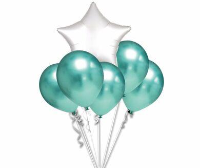 balonky-chrom-zelene-set-hvezda-bila