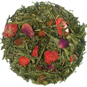 Jahody v šampaňském - zelený aromatizovaný čaj