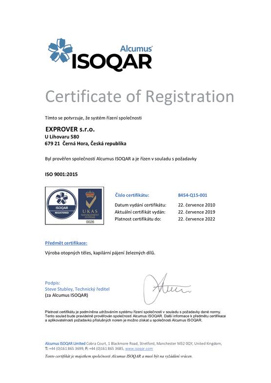 Certifikát ISO 9001 - 2019CZ