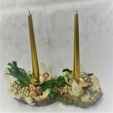 Vánoční svícen (2 svíčky)