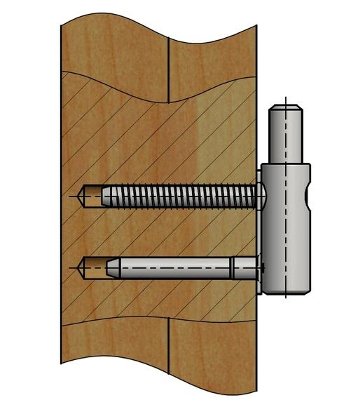 Zakování závěsu s podložkou - spodní díl dotáhnout na podložku