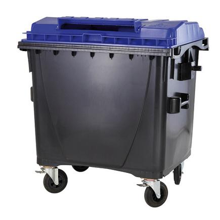 Plastový kontejner s plochým víkem 1100 l. papír bez zámku