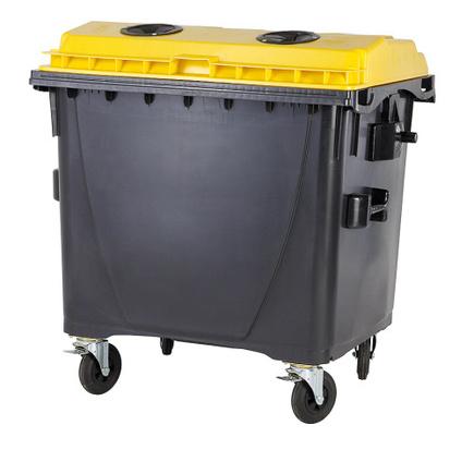 Plastový kontejner s plochým víkem 1100 l. plasty bez zámku
