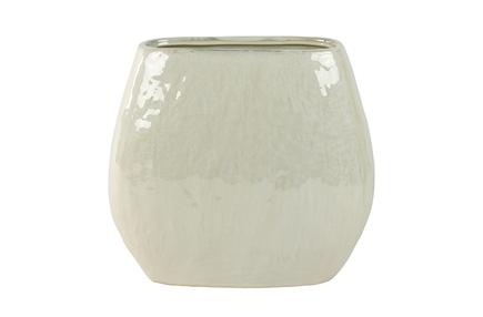 Váza široká Lieke perleťová bílá D29x16 H23