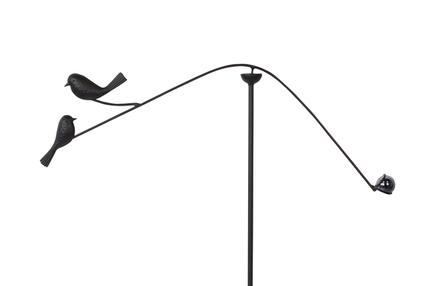 Větrník s ptáčky černý D66x4 H114