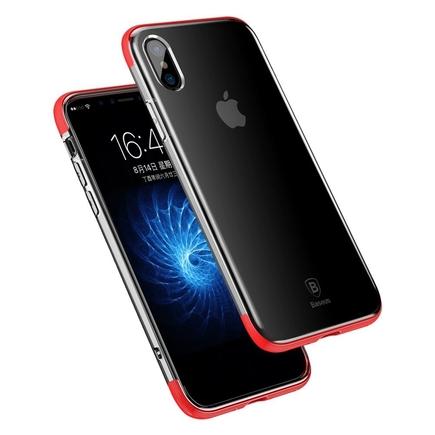 Armor Case průsvitné pouzdro se zesíleným rámem iPhone X červené