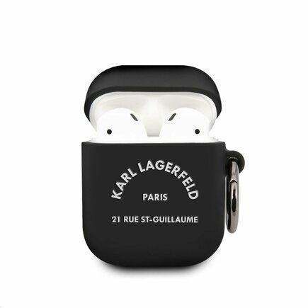 Karl Lagerfeld Rue St Guillaume Silikonové Pouzdro pro Airpods 1/2 černé