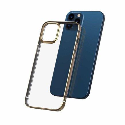 Shining Case elastické gelové pouzdro s metalickým lesklým rámem iPhone 12 Pro / iPhone 12 zlaté (ARAPIPH61P-MD0V)