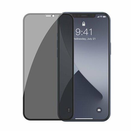 2x tvrzené sklo 0;3 mm Anti Spy na celý displej s rámem iPhone 12 mini černé (SGAPIPH54N-TG01)