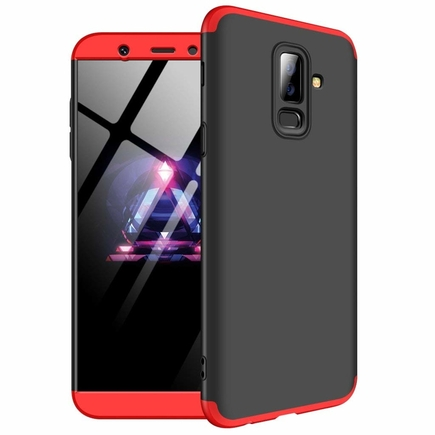 360 Protection pouzdro na přední i zadní část telefonu Samsung Galaxy A6 Plus 2018 A605 černo-červené
