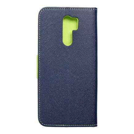 Pouzdro Fancy Book Xiaomi Redmi 9 tmavě modré/limetkové