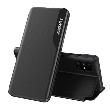 Eco Leather View Case elegantní pouzdro s klapkou a funkcí podstavce Huawei P40 černé