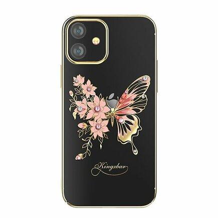 Butterfly Series lesklé pouzdro s originálními krystalky Swarovski motýli iPhone 12 Mini zlaté