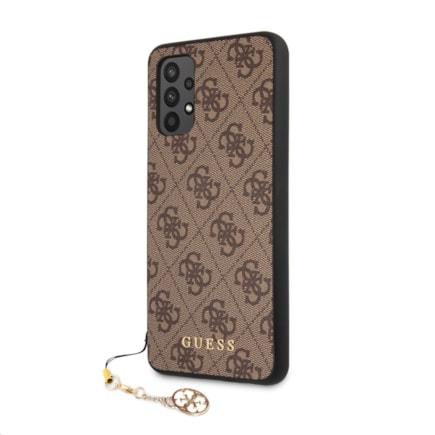 GUHCA32GF4GBR Guess PU 4G Charm Zadní Kryt pro Samsung Galaxy A32 Brown