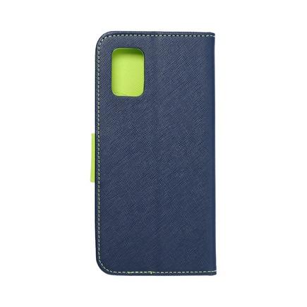 Pouzdro Fancy Book Samsung A71 5G tmavě modré/limetkové