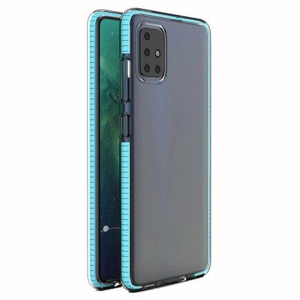 Spring Case gelové pouzdro s barevným rámem Samsung Galaxy A21S světle modré