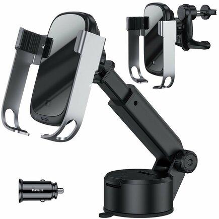 5v1 elektricky uzamykatelný držák do auta / bezdrátová nabíječka Qi 10 W + nabíječka do auta + 2 fixace + kabel micro USB stříbrný (WXHW01-B0S)