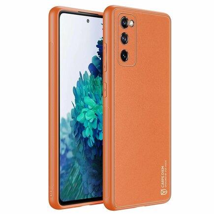 Dux Ducis Yolo elegantní pouzdro z eko kůže Samsung Galaxy S20 FE 5G oranžové