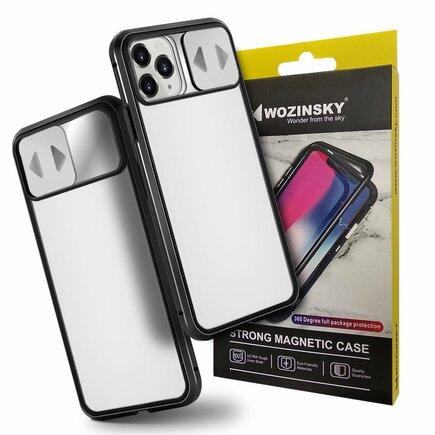 Magnetic Cam Slider Case magnetické pouzdro 360 na celý telefon + sklo na displej + clona na kameru iPhone 11 Pro Max černé