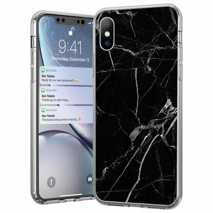 Marble gelové pouzdro mramorované Xiaomi Mi 10 Lite černé