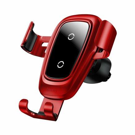 Metal Gravity Wireless Charger kovový držák do auta na ventilační mřížku + bezdrátová nabíječka Qi červený (WXYL-B09)