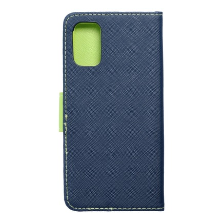 Pouzdro Fancy Book Samsung A02S tmavě modré/limetkové