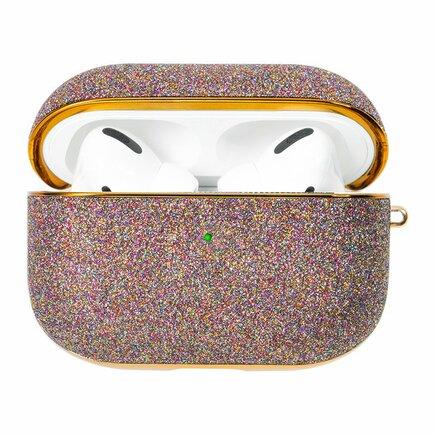 Kingxbar Bling lesklé brokátové pouzdro pro sluchátka AirPods Pro fialové