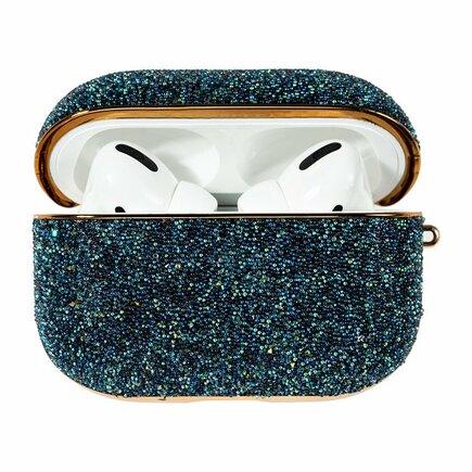 Kingxbar Crystal Fabric lesklé brokátové pouzdro pro sluchátka AirPods Pro modré