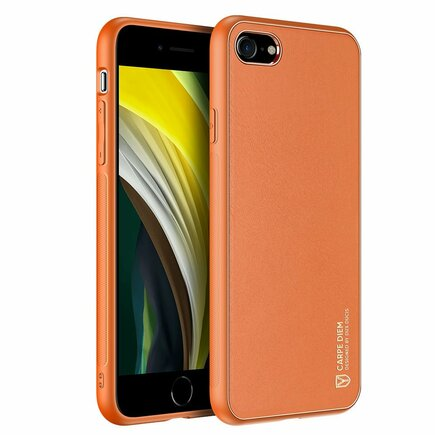 Yolo elegantní pouzdro z eko kůže iPhone SE 2020 / iPhone 8 / iPhone 7 oranžové