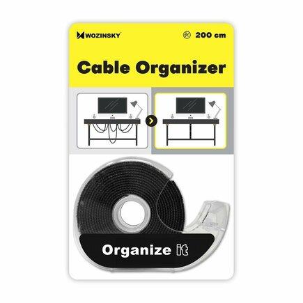 Pás suchého zipu / organizér kabelů 2 m Hook and Loop černý (WVO2MBK)