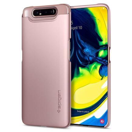Pouzdro Thin Fit Galaxy A80 růžově-zlaté
