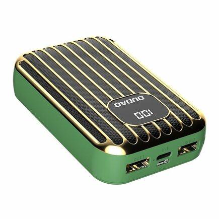 Power banka 10000 mAh 2x USB / USB Typ C / micro USB 2 A s LED displejem zelená (K11Pro-G)