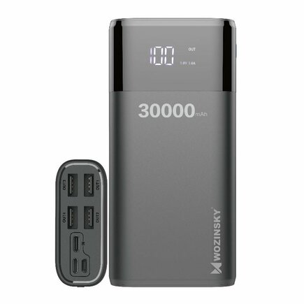 Wozinsky power banka 4x USB 30000 mAh s LCD displejem 4 A černá (WPB-001BK)
