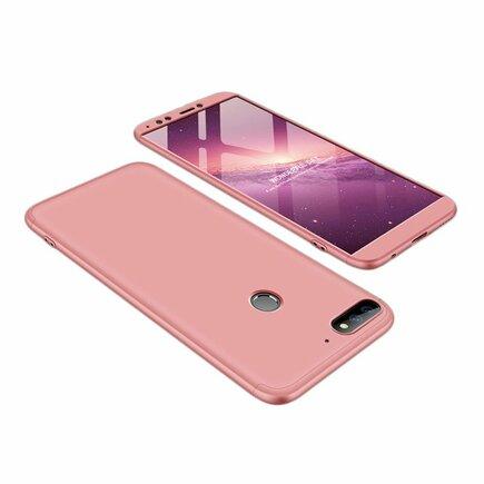 360 Protection pouzdro na přední i zadní část telefonu Huawei Y7 Prime 2018 růžové