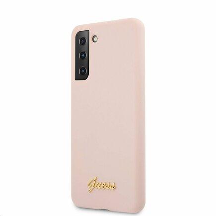Guess Silicone Metal Logo Script Pouzdro pro Samsung Galaxy S21 růžové