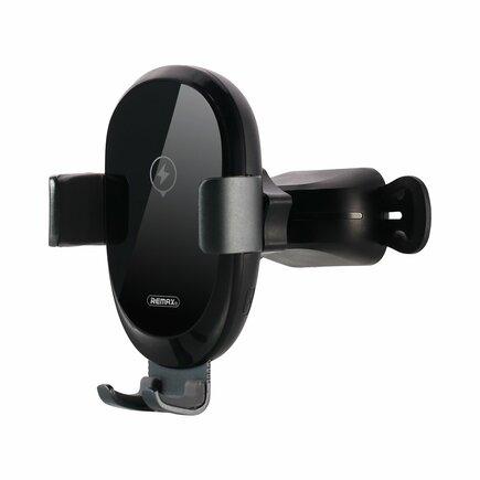 Automaticky uzamykatelný držák do auta + bezdrátová nabíječka Qi 10W černý (RM-C39)