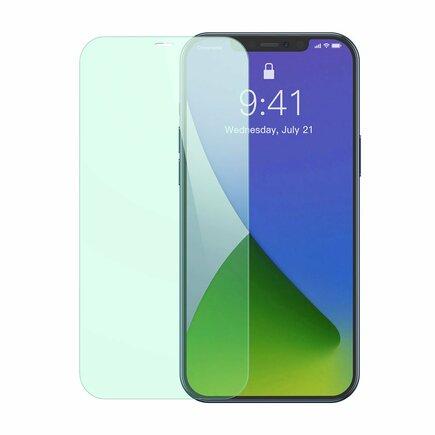 Baseus 2x zelené tvrzené sklo 0,3 mm s filtrem Anti Blue Light iPhone 12 Pro / iPhone 12 (SGAPIPH61P-LP02)