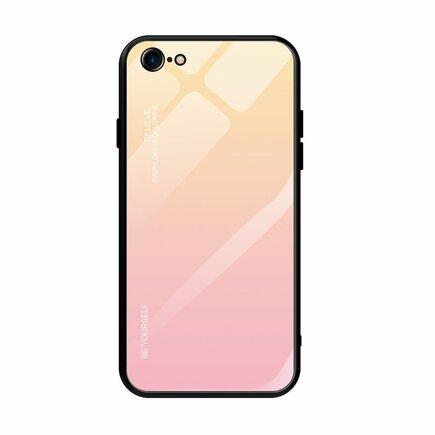 Gradient Glass pouzdro z tvrzeného skla iPhone SE 2020 / iPhone 8 / iPhone 7 růžové