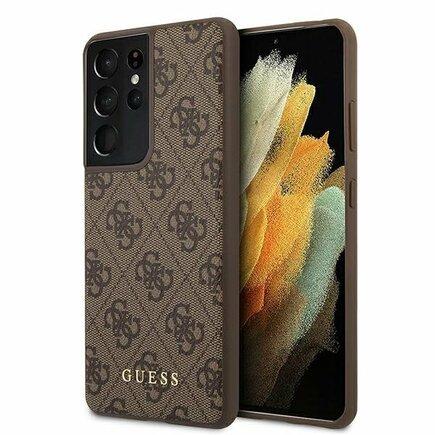 Guess 4G Pouzdro pro Samsung Galaxy S21 Ultra hnědé