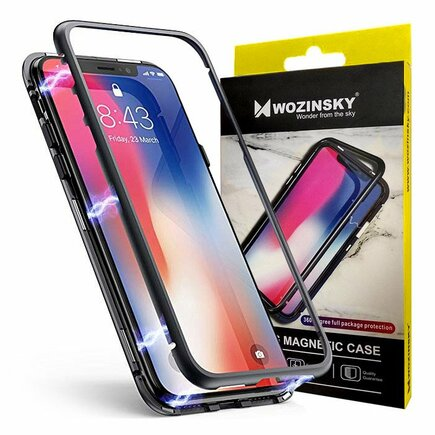 Magnetic Case magnetické pouzdro 360 na přední i zadní část telefonu OnePlus 7 černo-průsvitné