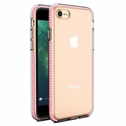 Spring Case gelové pouzdro s barevným rámem iPhone SE 2020 / iPhone 8 / iPhone 7 světle růžové