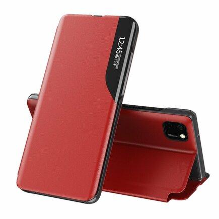 Eco Leather View Case elegantní pouzdro s klapkou a funkcí podstavce Huawei Y5p červené