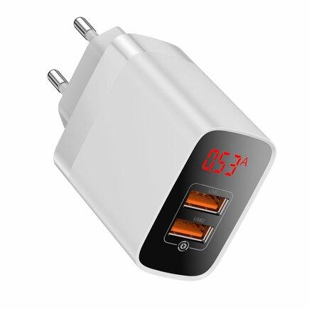 Mirror Lake rychlá nabíječka Quick Charge 3.0 2x USB 18W s displejem bílá (CCJMHA-A02)