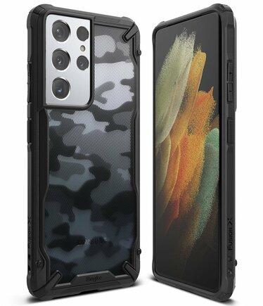 Ringke Fusion X Design pancéřové pouzdro s rámem Samsung Galaxy S21 Ultra 5G černé Camo Black (XDSG0046)