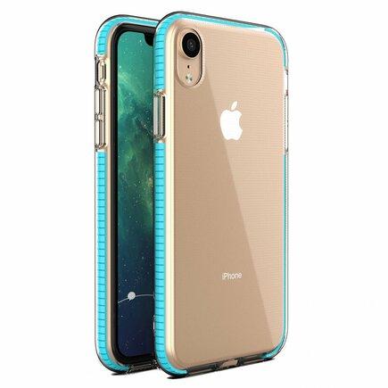 Spring Case gelové pouzdro s barevným rámem iPhone XR světle zelené