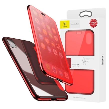 Touchable Case gelové pouzdro s tvrzeným sklem iPhone X červené
