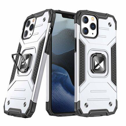 Wozinsky Ring Armor pancéřové hybridní pouzdro + magnetický úchyt iPhone 12 Pro / iPhone 12 stříbrné