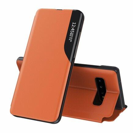 Eco Leather View Case elegantní pouzdro s klapkou a funkcí podstavce Samsung Galaxy S10 oranžové