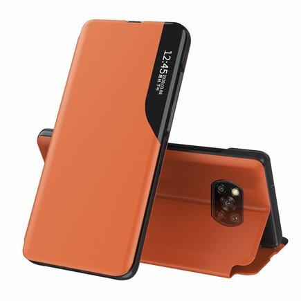 Eco Leather View Case elegantní pouzdro s klapkou a funkcí podstavce Xiaomi Poco X3 NFC oranžové
