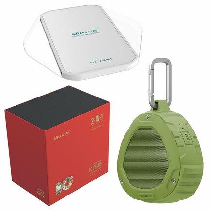Dárková sada - bezdrátový reproduktor Bluetooth + bezdrátová nabíječka Qi Magic Cube (Fast Charge Edition) zelená